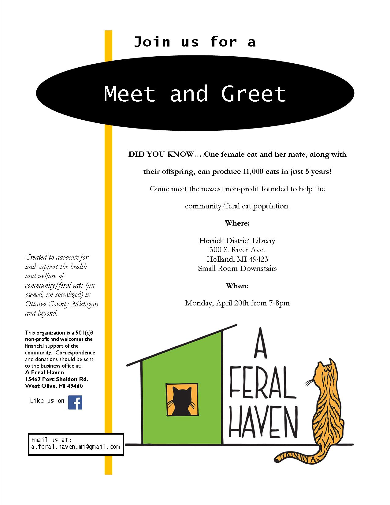 April 20 2015 Meet And Greet Event A Feral Haven Michigan